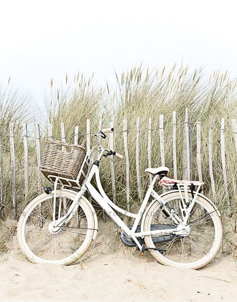 white vintage bike at the beach