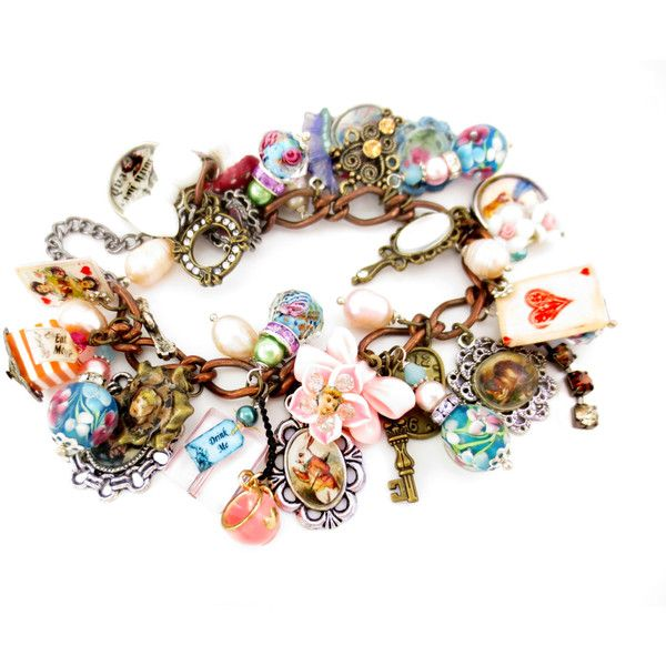 INCREDIBLE Alice In Wonderland Loaded Charm Bracelet, Hand Painted,... ($225) ❤ liked on Polyvore featuring jewelry, bracelets, victorian jewellery, cat bangle, bracelet jewelry, victorian bangle and charm bracelet