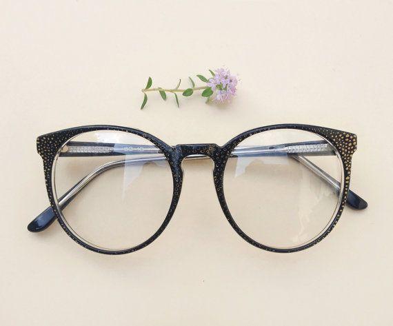 Vintage polka dots Frames / 80s black rounded designer hipster eyeglasses / NOS sunglasses / round shaped golden glasses / graffiti spects by Skomoroki on Etsy