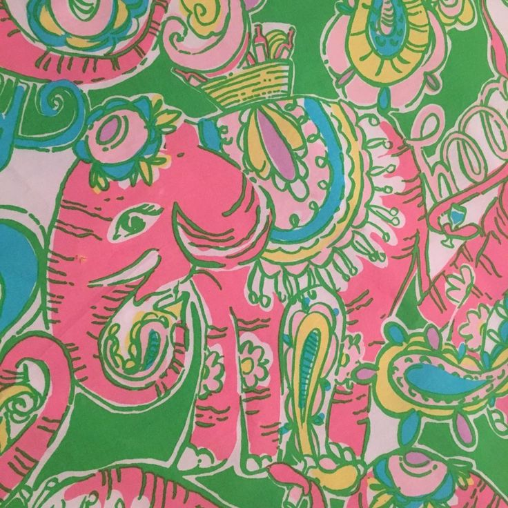 Lilly Pulitzer Chin Chin Fabric Tablecloth Elephants