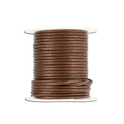 Round leather cord, 1.5mm, gauriya, 10 meters spools. (SKU# TT1.5MMA10/GA). Sold per pack of 6