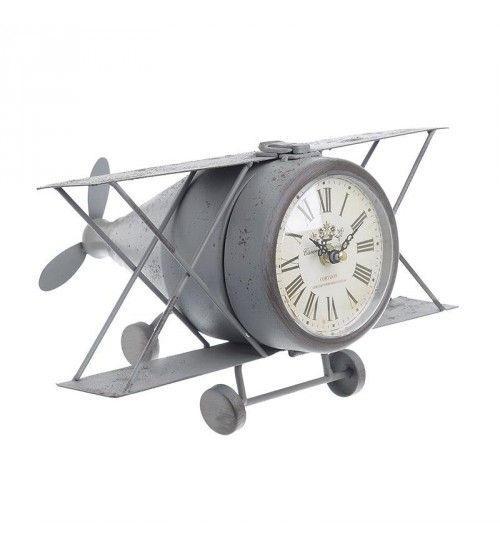 METAL 'AEROPLANE' TABLE CLOCK IN ANTIQUE GREY COLOR 31Χ25Χ18