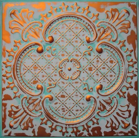 alaska color hand faux finish metal ceiling tile in transparent copper very light blue u0026 teal pattern shown - Tin Ceilings