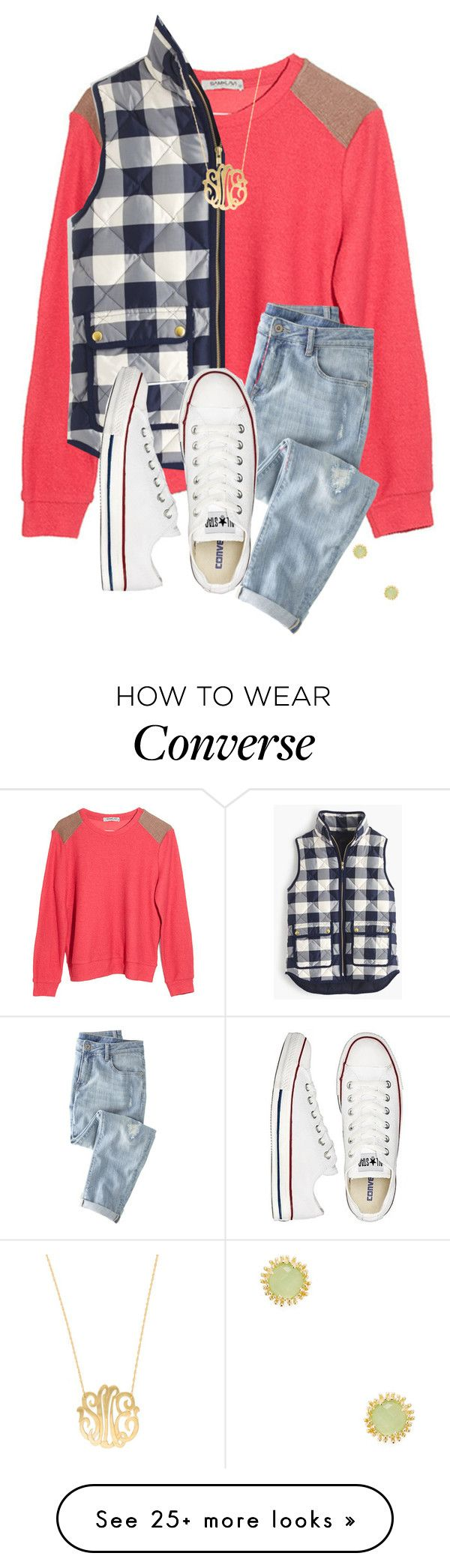 """Untitled #627"" by hayley-tennis on Polyvore featuring Sam&Lavi, J.Crew, Wrap, Converse, Moon and Lola and Kendra Scott"