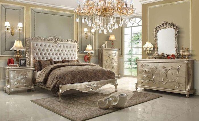 Elegant Zimmer Deko Ideen, Auserlesenes Design, Doppelbett In Beige, Braun,  Hellblau, Luxuseinrichtung