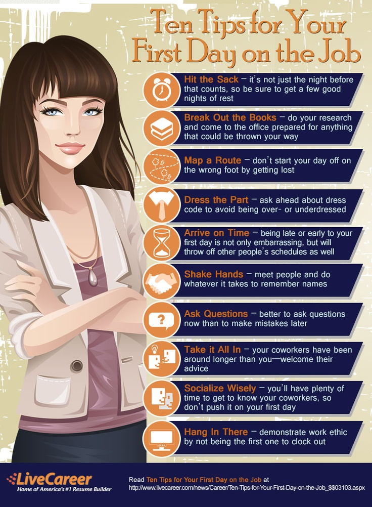 Whether you're a recent grad or switching positions, if you have a first day at a new job coming up, don't miss this great advice. At LiveCareer, we know how nerve racking the first day can be, especially after a stressful job search. Don't worry though, we've got you covered. Take a look at this checklist before you head into the office.