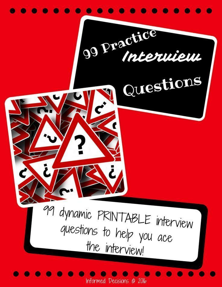A freebie just for you- 99 practice interview questions. These questions will assist your students in becoming better acquainted with questions asked by the interviewer. It will aid in them being better prepared for the interview.