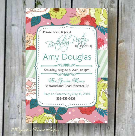 Printable Adult Birthday Invitation, Custom Printable Birthday/Bridal Shower Invitation, DIY Birthday, Elegant Birthday/Bridal Shower Invite...