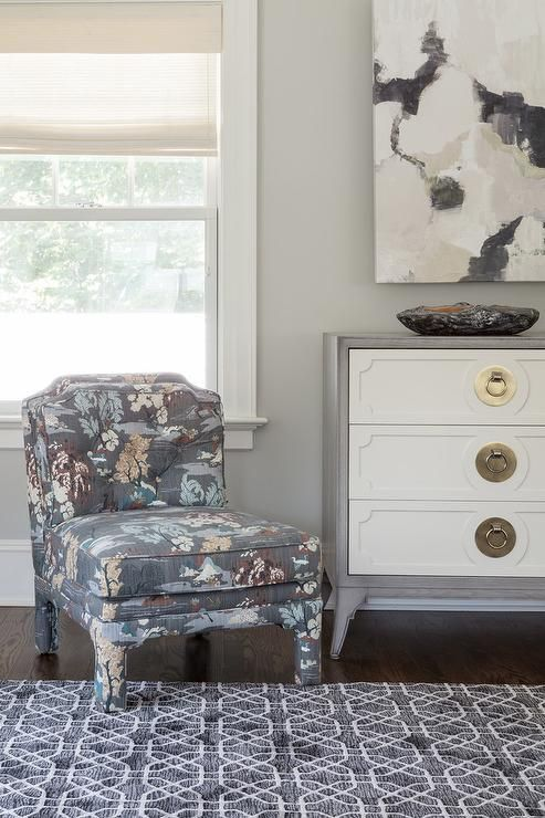 Blue and gray floral slipper chair