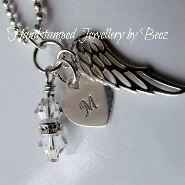 Silver Monogram Angel Pendant - Hand Stamped By Beez