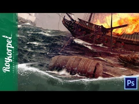 The Battle - Pirates rule the oceans | Photoshop cs6 time lapse video - ...