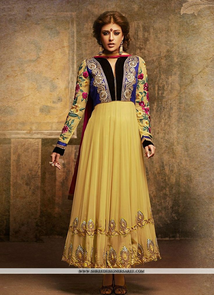 Selectable Yellow Georgette Designer Suit