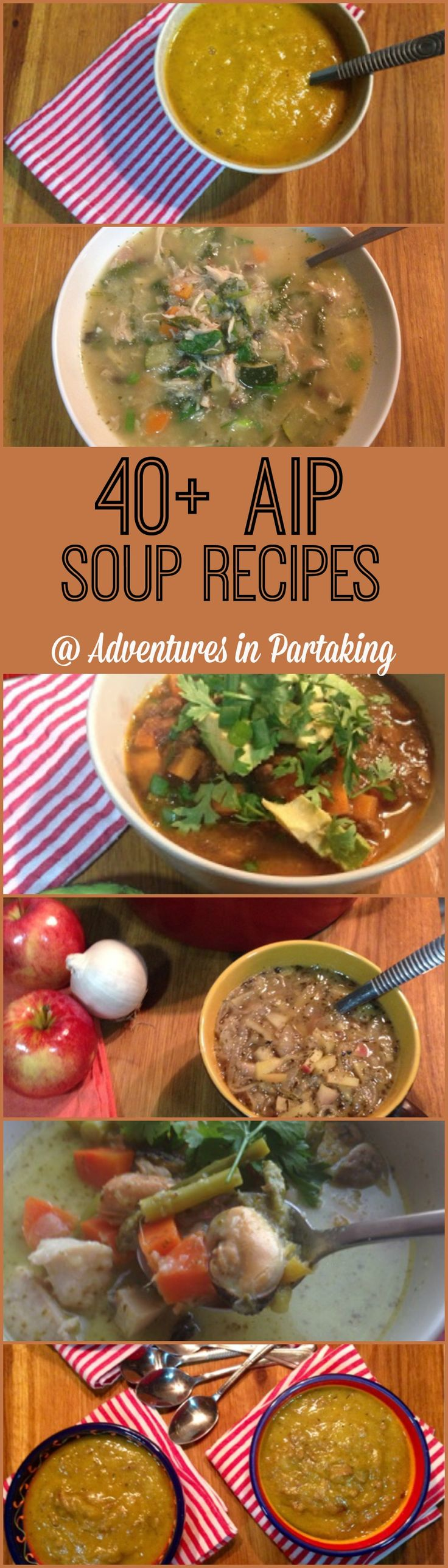 So, without further ado... here are 40+ AIP soup recipes, plus a round-up of 38 more...so links to 80 soup recipes. What more could you ask for? Recipes for... bone broth, cold soups, vegetable soups, seafood soups, veggie soups, chicken soups, beef soups, chili, stews, curries and more one pot AIP goodness!