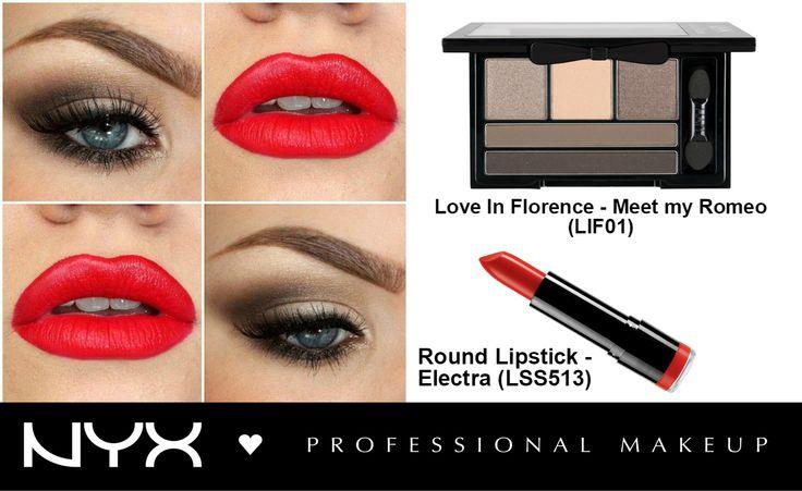 """Ένα κλασικό μακιγιάζ που αγαπούν οι περισσότερες γυναίκες καθώς ταιριάζει σε κάθε εποχή και είναι πάντα στη μόδα!  Γήινα χρώματα στα μάτια και έντονα κόκκινα χείλη! Το πετυχαίνουμε με την παλέτα σκιών Love in Florence στην απόχρωση """"Meet my Romeo"""" και το Round Lipstick στην απόχρωση """"Electra""""."""