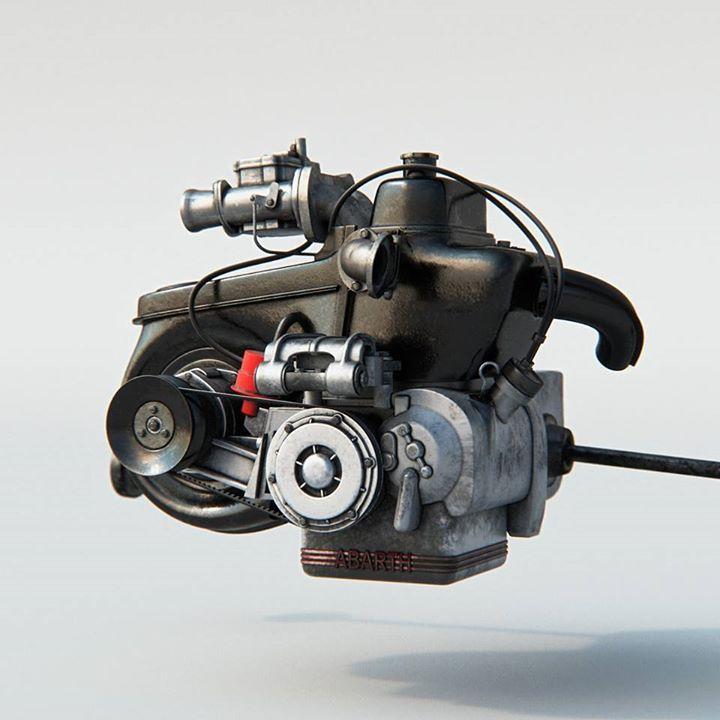"""CAPOLAVORO Guardate che cosa fantastica! Complimenti a """"teapots in brackets"""" che su Tumblr ha pubblicato queste incredibili ricostruzioni 3-D. Ancora complimenti! #fiat500nelmondo #3d #engine"""