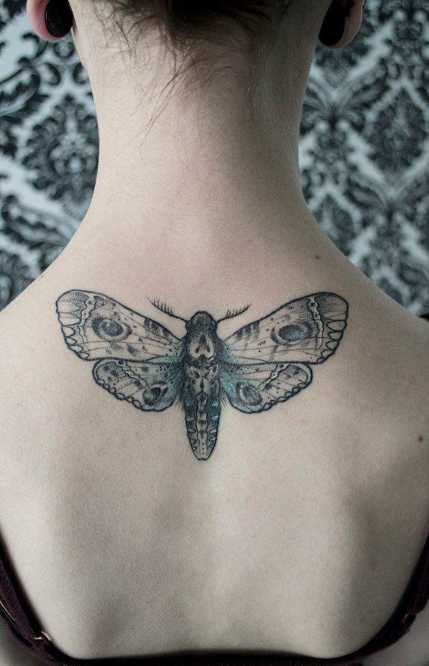 Moth tattoo on the back | Mico Goldobina at Tartu-Tattoo Studio in Tartu, Estonia