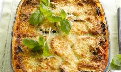 Spinazie-auberginelasagne met geitenkaas: