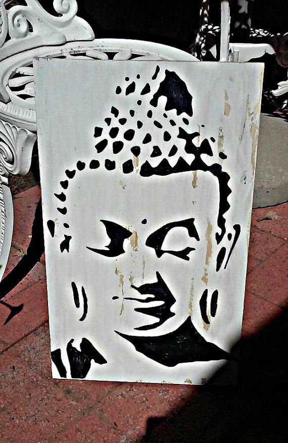 buddha wall art buddha head yoga studio by SplintersandSawdust1