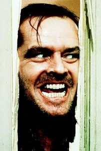 """Jack Nicholson in the famous """"Here's Johnny"""" scene"""