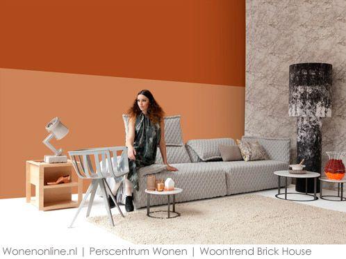 Woontrends 2013 - 2014 Brick House interieur. De kleur van baksteen en materialen als marmer en graniet onderscheiden trend Brick House.
