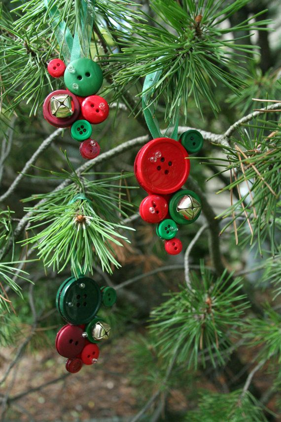 Christmas button Ornaments  made with jingle bells and by AngleAh, $23.00