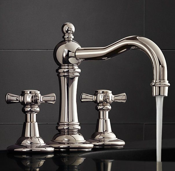 """RH's Vintage Cross-Handle 8"""" Widespread Faucet Set:Baronial in stature, our Vintage collection celebrates form as well as function."""