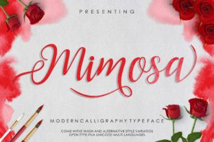 http://Mimosa Script is a fresh, modern handwritten calligrapyhy font. It features decorative characters and is packed with stunning swashes. The Mimosa Script font comes with over 260 unique glyphs.