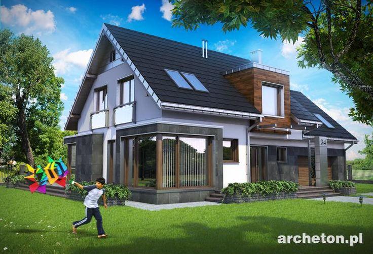 Projekt domu Solaris to nowoczesny dom, z dużą ilością przeszkleń, z garażem na dwa samochody