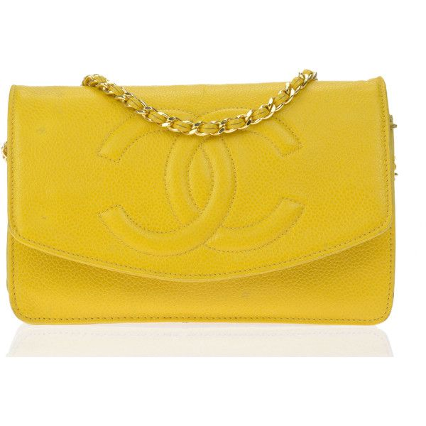 Preowned Chanel Vintage Yellow Calfskin Leather WOC