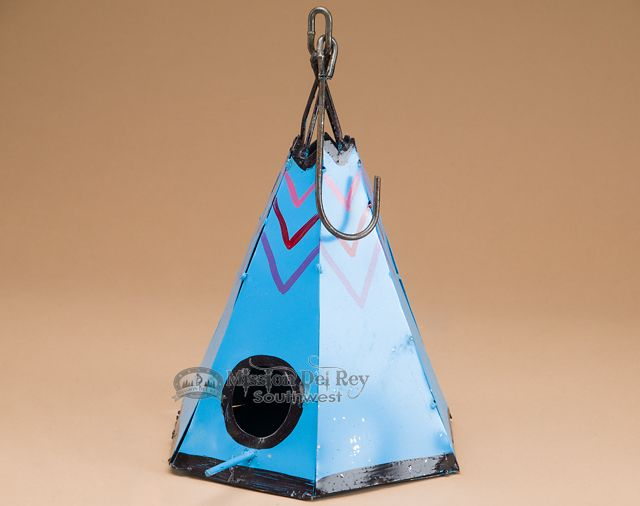 Bring your love of western or southwestern style decor outdoors with a beautiful metal teepee birdhouse. Rustic Metal Yard Art - Teepee Birdhouse  - Mission Del Rey Southwest