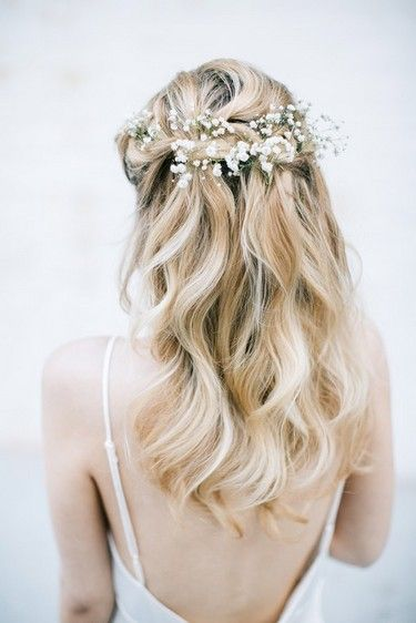Baby S Breath Half Up Half Down In 2019 Wedding Hair