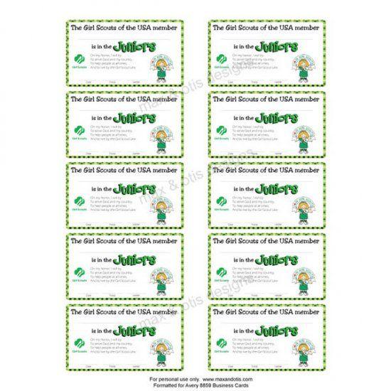 Girl Scout Juniors printable membership cards for investiture, bridging or rededication.