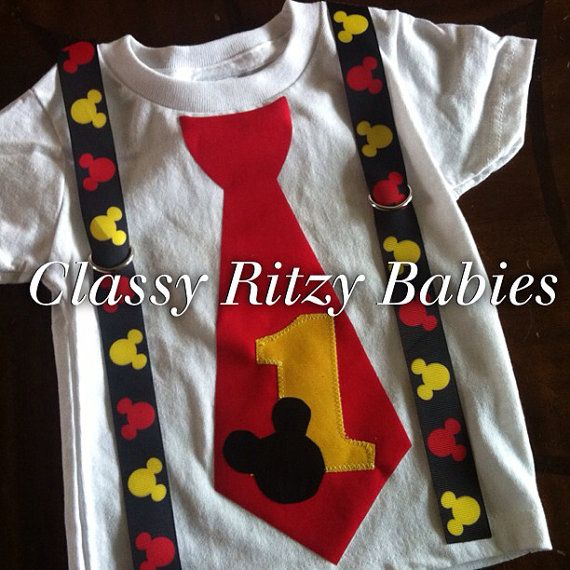 Mickey Mouse birthday shirt. Mickey Mouse inspired birthday. Mickey Mouse ribbon tie  on Etsy, $24.00
