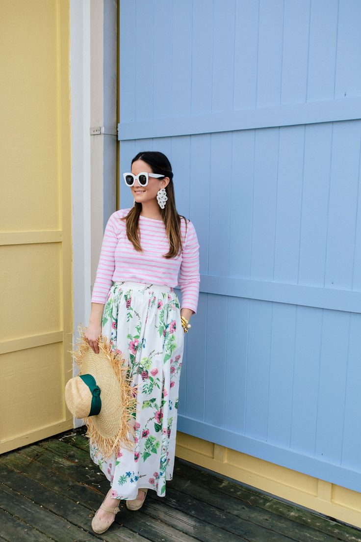 MDS Stripes Floral Maxi Skirt and in Florida