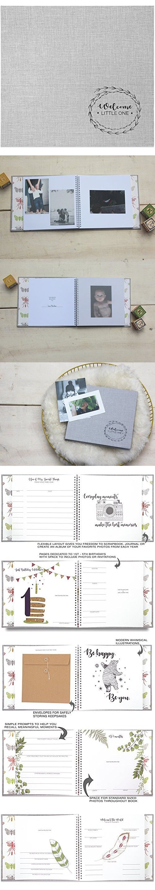 Smitten Provisions Baby Memory Book + Baby Journal - Modern Gender Neutral Design Ideal for Baby Boys + Girls - Record Milestones from First 5 Years - Space for 4x6 Photos, Scrapbooking and Keepsakes