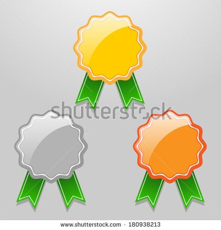 Set of vector badges with green ribbons - signets/medals - gold, silver and bronze | http://www.shutterstock.com/g/ajinak