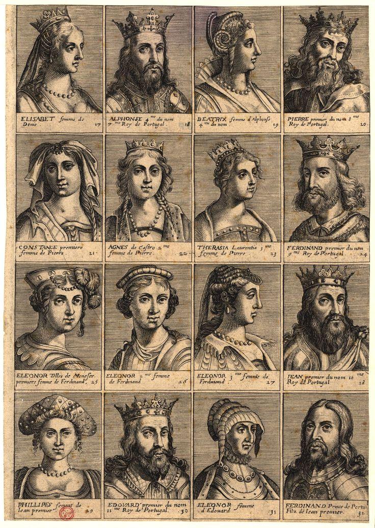 Conjunto de 16 supostos retratos de Reis e Rainhas de Portugal, postos por ordem cronológica em quadrículas numeradas que preenchem a obra por completo, desde a Rainha D. Isabel ao Rei D. Fernando, estando todos identificados por legenda na respectiva base. Publicação 1630.