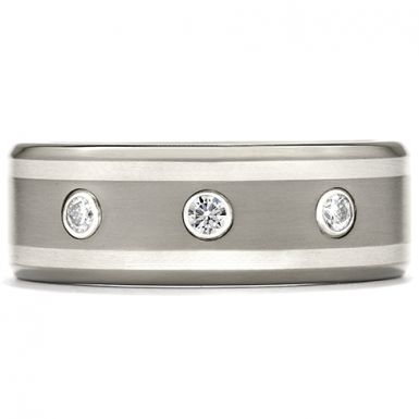 Hearts On Fire Commanding Grey Titanium Double Inlay Bevel Band This two-toned, grey, titanium band includes three, small, perfectly cut diamonds that elevate its masculine design for an even bolder look. As a perfect wedding band for many men, this style is extremely lightweight and comfortable to wear, yet durable for the long term.