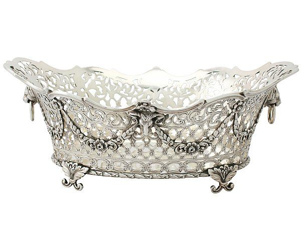 Sterling Silver Fruit Basket - Antique Victorian SKU: A3437 Price GBP £1,395.00 http://www.acsilver.co.uk/shop/pc/Sterling-Silver-Fruit-Basket-Antique-Victorian-66p5333.htm#.Vguj0ysYHfc