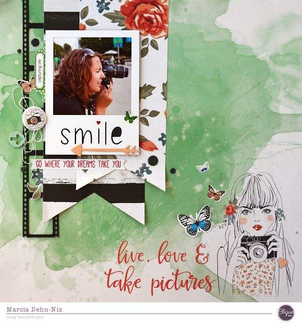 Smile: Live, Love, & Take Pictures - scrapbook layout created with the September Clique Kit featuring the Kaisercraft Boho Dreams collection and Pretty Little Studios. Flair is from A Flair For Buttons. Polaroid digital cut file is from JustNick Studios.