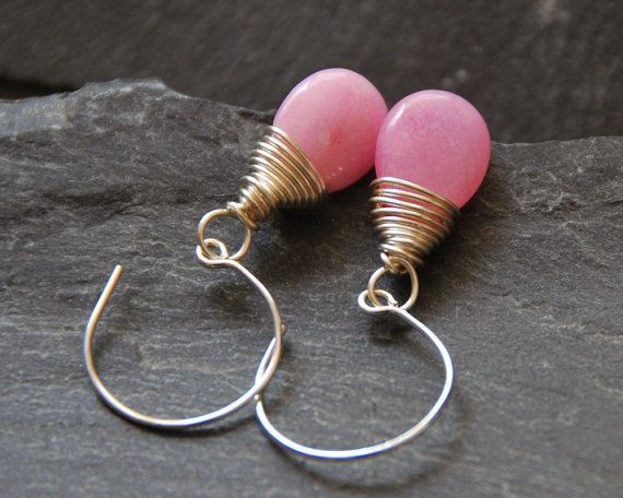 Pink teardrop earrings Silver hoop earrings Wire wrapped Jade earrings Bridesmaid jewelry Personalized birthday gift 1153-9 by StudioDjewelry