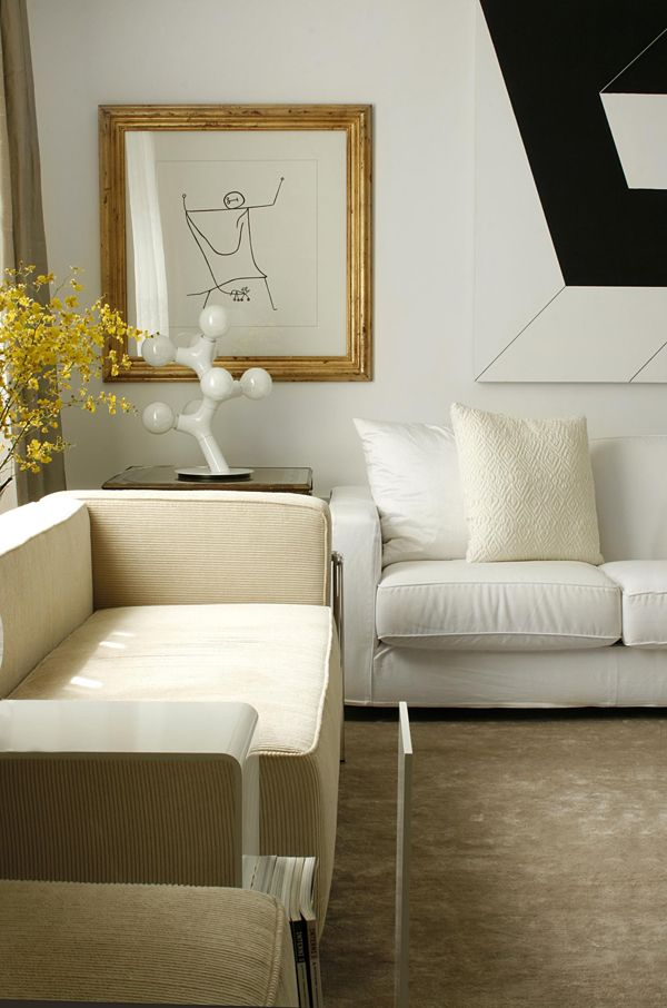 Diego Revollo Pacaembu apt living room white cream modern art sketch