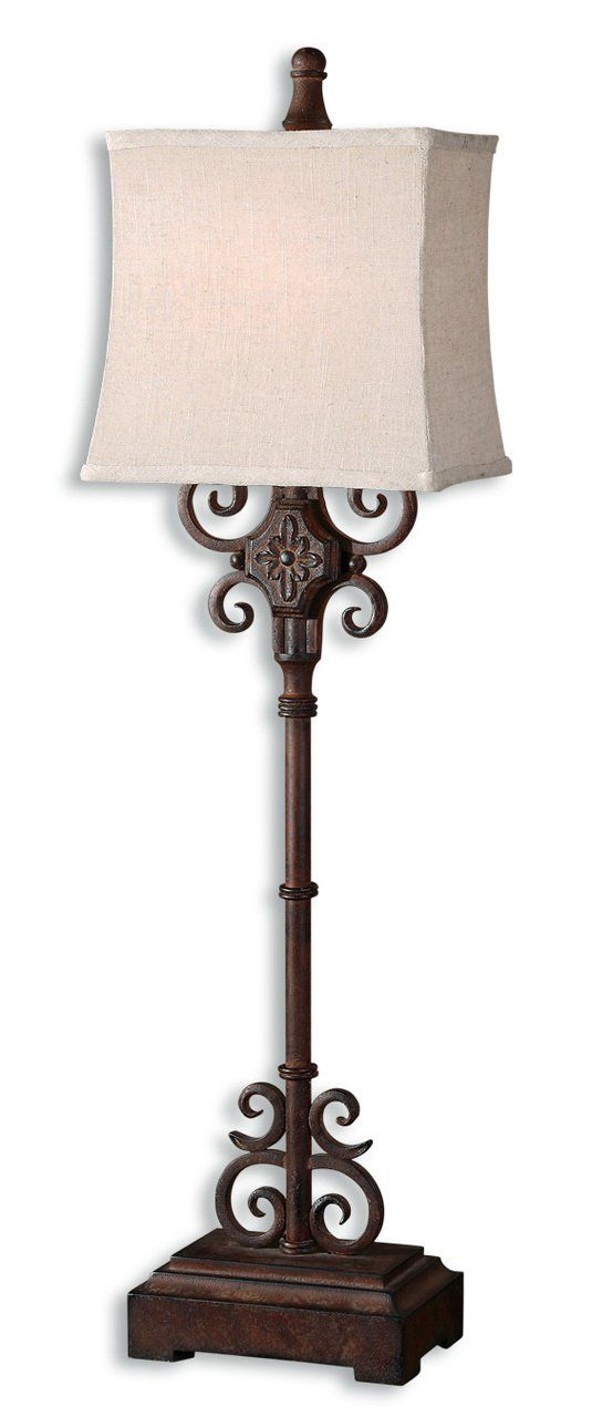 """""""Escondido"""" Buffet Table Lamp. Distressed Rust Brown Finish With Black Undertones. The Rectangle, Semi Bell Shade Is An Off White Linen Textile With Natural Slubbing. Color/Finish: Distressed Rust Brown Finish With Black Undertones. Measurements: 38.25'' H x 11'' W x 8'' Deep • Shade Size: Height: 10, Top: 10W x 7D, Bottom: 11W x 8D • 100W Watts. Material: Metal & Compressed Hardwood. Heirloom Quality - Expertly hand crafted and hand finished • Due to the hand crafted nature of this piece..."""