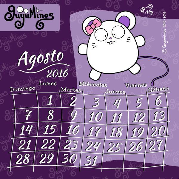 Calendario Agosto 2016 ©Guyuminos Disfruta del mes al máximo :D #calendario#mes#agosto #guyuminos
