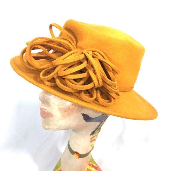 1960's Hat | Vintage Frank Olive 100% Wool Tangerine Orange Hat with String Flower Detail