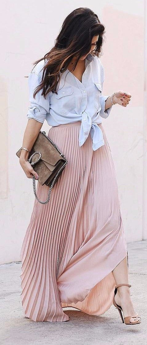 pale blue shirt + pleated maxi skirt