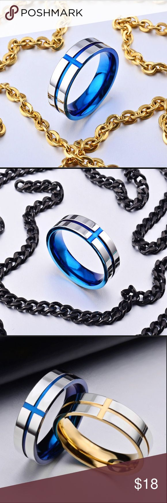 6mm Silver Titanium Steel Blue Cross Ring stainles 6mm Silver Titanium Steel Blu…
