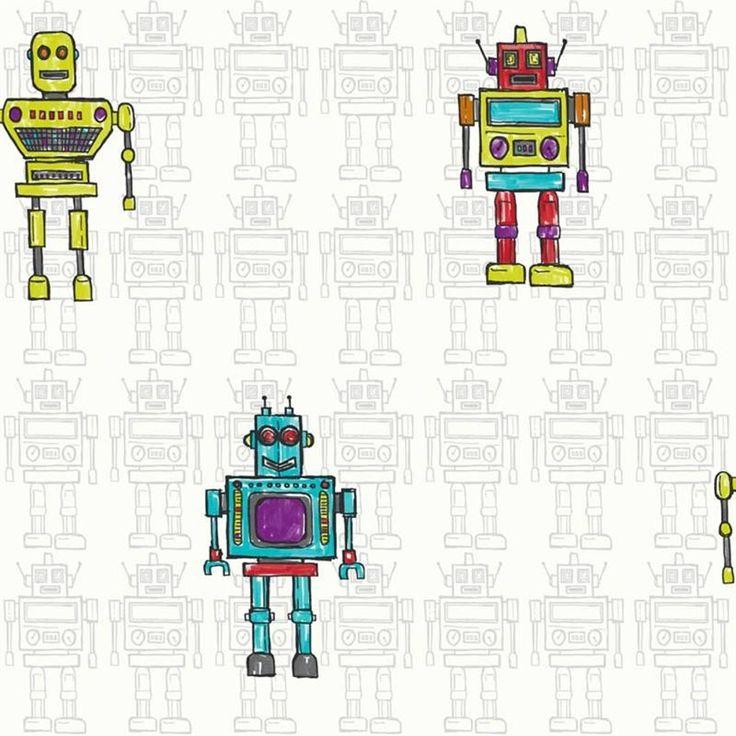 Arthouse Retro Robot Metallic Childrens Kids Bedroom Wallpaper 534002 £8.49 per roll