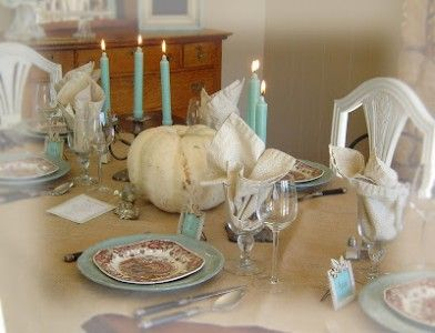 Notes from a Cottage Industry - Thanksgiving table setting-Today's Creative Blog 2007