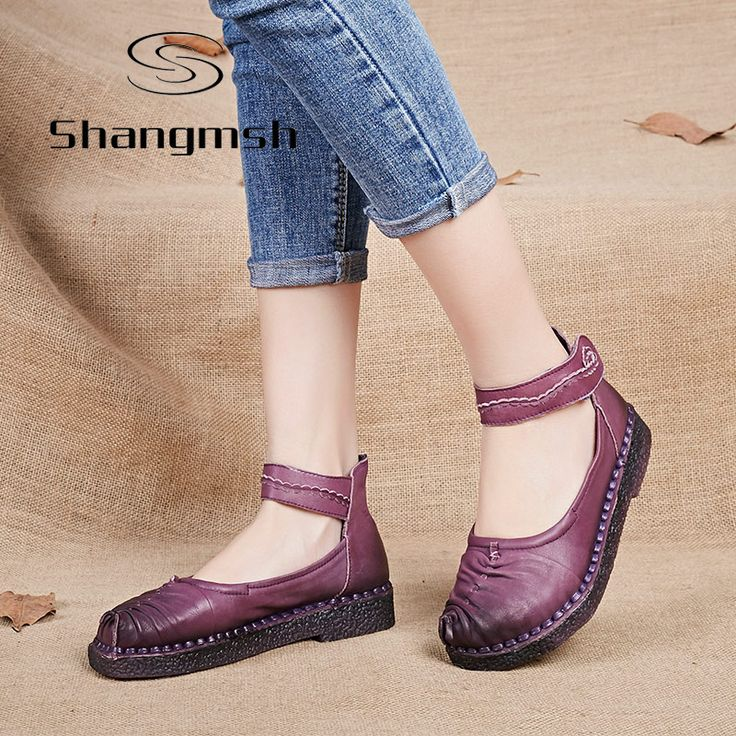 Cheap driving shoes, Buy Quality flats shoes directly from China genuine leather women shoes Suppliers: Shangmsh Handmade flats shoes 2017 Spring Vintage Comfortable Women Genuine Leather Women's Shoes round toe lasy driving shoes